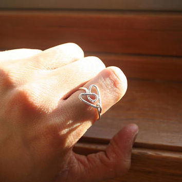 Heart Silver Plated Wire Tarnish Proof Ring, Heart Ring, Silver Ring, Silver Wire Ring