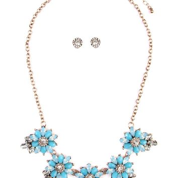 Sky Blue Vintage Floral Statement Necklace & Earring Set