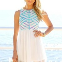 White Mini Dress with Pastel Print Top and Tulle Overlay