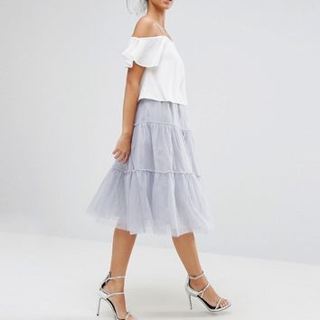 Boohoo Tiered Tulle Midi Skirt at asos.com