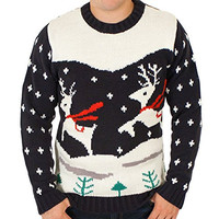 Ugly Christmas Sweater - Prancing Reindeer Holiday Sweater in Navy XX-Large By Festified