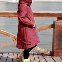 Linen double stand-up collar asymmetric winter padded coat