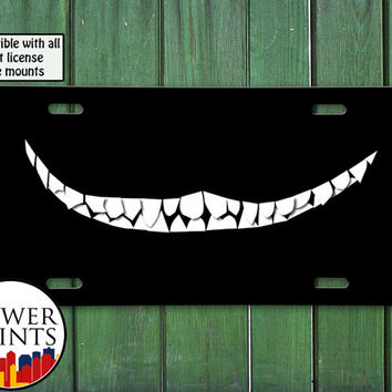 Chesire Cat Inspired Smile Black Cat Teeth Alice in Wonderland Cute For Front License Plate Car Tag One Size Fits All Vehicle Custom