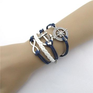 SUSENSTONE New Hot Infinity Love Anchor Compass Leather Charm Bracelet Plated Silver Frindship bracelets for women