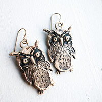 Mischievous Owls- Large Bronze Hand Carved Owl Earrings