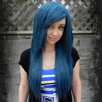 20% OFF SALE / Long Straight Layered Wig - Beautiful Luscious Hair, Blue Mix Wig, Cosplay Wig, Costume Wig, Black Dark