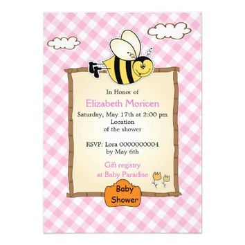 Cute bee pink gingham baby girl shower invitation
