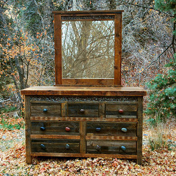 Reclaimed Wood and Rock Rustic Dressers    -    USA Made, Eco Friendly. One in stock.