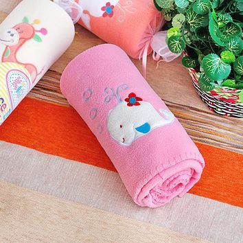 [White Whale - Pink] Embroidered Applique Coral Fleece Baby Throw Blanket