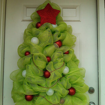 Christmas Tree Wreath- Deco Mesh Christmas Tree Wreath