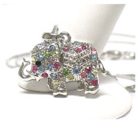 Adorable Colorful Rhinestone Accented White Gold Plated Elephant Necklace