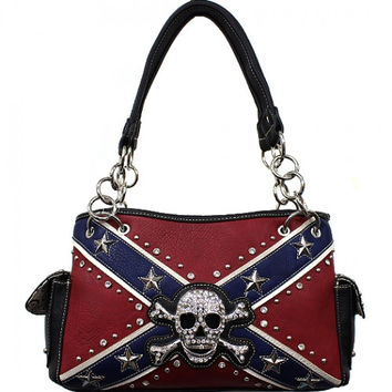 Rebel Flag Rhinestone Skull Handbag
