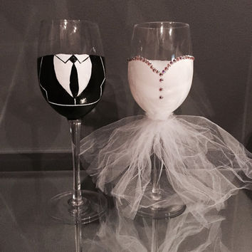 Bride And Groom Hand Painted Wine Glass From Love4eden On Etsy