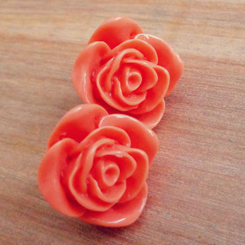 Vintage Style Floral Cabochon Post Earrings