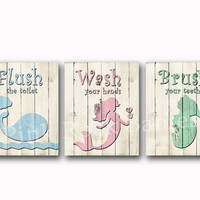 Wood wall decor neutral bathroom art rules Brush wash flush Kids bath artwork children decoration pink mermaid decor pink blue green print