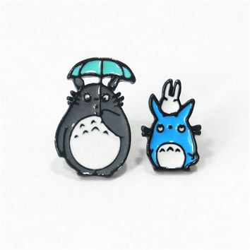 New Arrivals Hot Classic Cartoon Anime Cute My Pet Totoro Asymmetry Animal Stud Earrings Girl Children Gift Jewelry Accessories