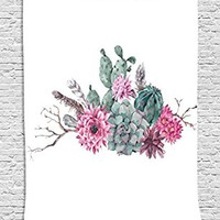 Succulent Tapestry by Ambesonne, Feathers Flowers Cacti Ethnic Hipster Elements Vintage Fashion, Wall Hanging for Bedroom Living Room Dorm, 40 W X 60 L Inches, Sage Green Light Pink Mauve
