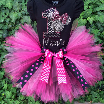 Disney inspired Rhinestone Chevron Minnie Mouse Birthday Tutu outfit tutu set w/ name first 1st  2nd 3rd 4th 5th 6th 7th Long/Short Sleeve