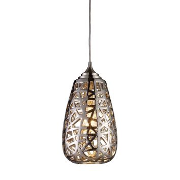 20064/1 Nestor 1 Light Pendant In Polished Chrome And Chrome Plated Ceramic Shade - Free Shipping!