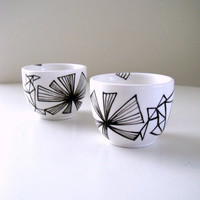 Ceramic Cups Sake Japanese Tea Geometric Black and White Triangles Painted Modern - READY TO SHIP