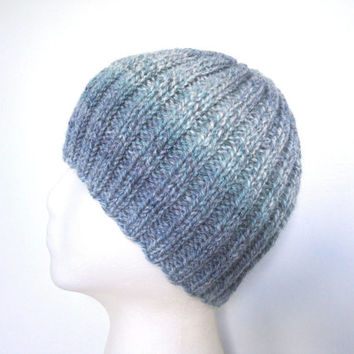 Blue Gray Ribbed Beanie Hat for Men, Teens & Boys, Hand Knit Wool Acrylic, Toque
