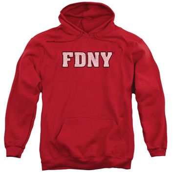 FDNY Hoodie New York Fire Dept Logo Red Hoody