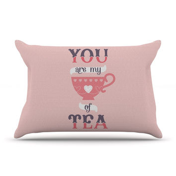 "Daisy Beatrice ""My Cup of Tea"" Pink Purple Pillow Case"