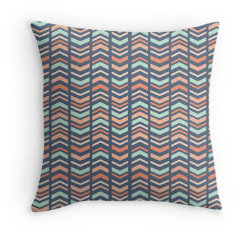 Mint, Coral, and Blue Tribal Decorative Pillow Cover