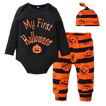 Baby's First Halloween Outfits Infant Kids Pumpkin Clothing Sets for Baby Girl Boy Romper Pants Hats 3pcs Sets Newborn Clothes
