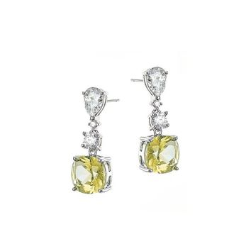 Pear and Cushion Diamond Simulant Drop Earrings