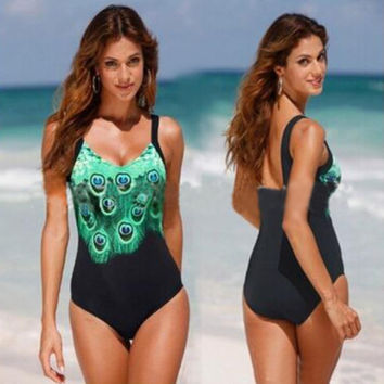 2017 Hot Lady Swimsuit Plus size One Piece Bathing Suit Peacock Print Straps Swimwear New Arrival Swimsuit -03128