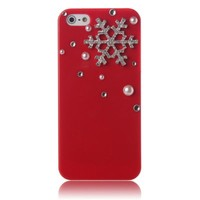 ArmyBee inc Apple iPhone 5 5S Case 3D Bling Crystal Christmas Winter Pearl Snowflake Red Design Case Cover (Fits: Apple iPhone 5 And the New 5S, Package includes: 1 X ArmyBee Screen Protector)