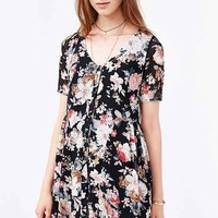 Oh My Love Floral Chiffon Dress- Black Multi