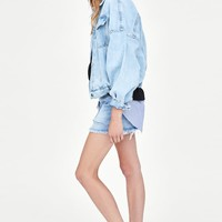 DENIM JACKET WITH FULL SLEEVES DETAILS