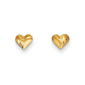 Kids 14k Yellow Gold Small Satin and Diamond-Cut Puffed Heart Earrings
