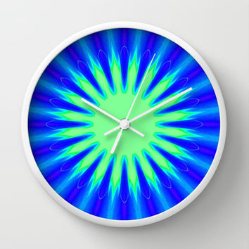 Aqua Starburst Wall Clock by 2sweet4words Designs