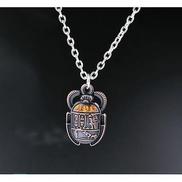 Antique Egyptian Scarab Rhinestone Necklace
