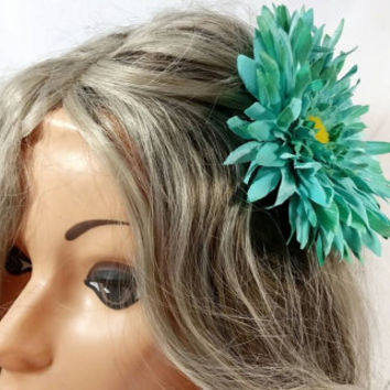 Turquoise Flower Hair Clip/Flower Hair Tie/Fashionable Flower Pin
