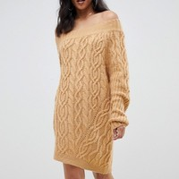ASOS DESIGN cable off shoulder mini dress in rib at asos.com