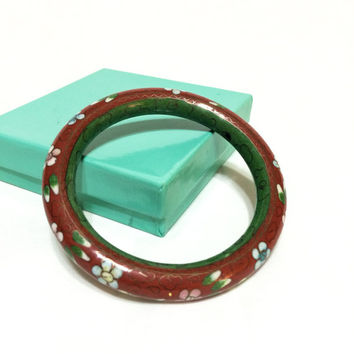 Floral Stacking Bangle, Cloisonne Enamel Bangle, Green & Red Bracelet, Chinese Jewelry, Vintage Jewelry