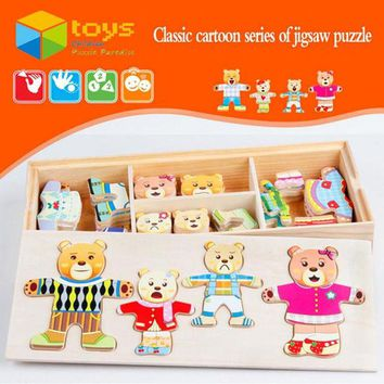 DCCKL72 Wooden Bear Family Dressing Jigsaw Puzzle Educational Toys for Children Kids Change Clothes Dress Changing Creative DIY Gifts