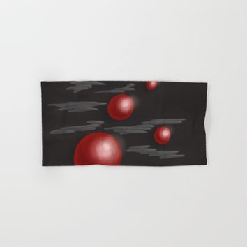 Shiny Red Planets Hand & Bath Towel by Boriana Giormova