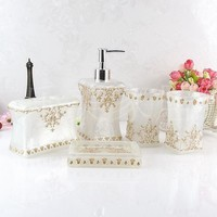 Resin bathroom five pieces set fashion bathroom supplies wash dental set Soap dish Toothbrush holder Beautiful home decoration