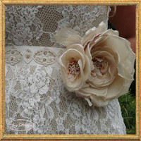 Bridal Sash featuring a Vintage Trim with an Ecru and White Beaded Design and Two Organza Flowers Blooming with Hand Beaded Throats