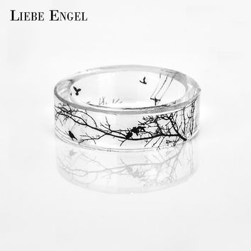 LIEBE ENGEL Resin Ring Men Tree And Birds Ink Painting Scenery Inside Epoxy Rings Women Finger Punk Jewelry With Free Gift Box