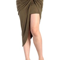 Twist-front stretch skirt - Olive