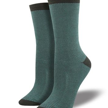 Bamboo Green Herringbone Socks
