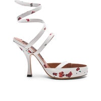 Y Project Floral Leather Spiral Sandals in White | FWRD