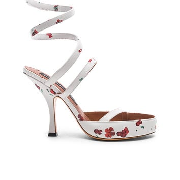 Y Project Floral Leather Spiral Sandals in White   FWRD