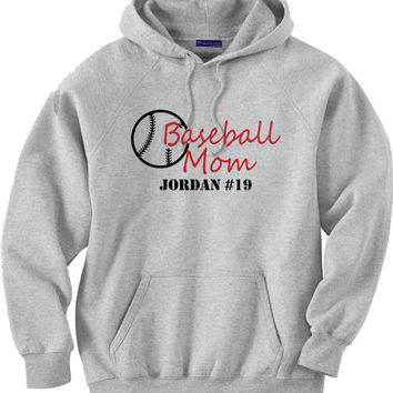 Personalized baseball mom hoodie sweatshirt. Personalized with your player's name and number.